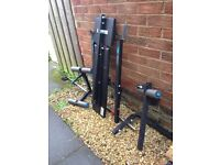 Free weights bench and weights