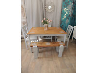 Vintage farmhouse shabby chic style dining table with 3 chairs and bench