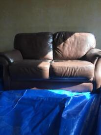 2/3 Seater Brown Leather Sofas