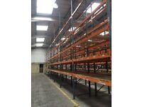 8 bay run of dexion pallet racking 9.6 meters high( storage , shelving )