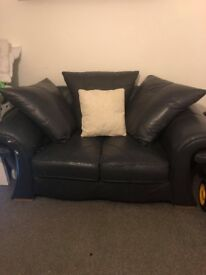 2&3 seater navy leather sofa