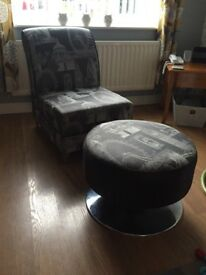 Grey chair and matching footstool.