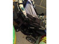 Baby merc owl theme pram & 1st stage car seat.