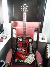 FENDER DG3 ACOUSTIC GUITAR 50TH ANNIVERSARY MODEL COVERED IN PUNK STICKERS NEW SET OF HELIX BRONZE