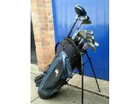 Golf clubs and bag stand