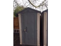 KETER APEX 6 x 4 GARDEN PLASTIC SHED (ONE SHED - LEFT SHED WHERE THERE ARE A PHOTO OF 2 SHEDS)