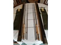 2 Hardy Sirrus 10' #7 three piece fly fishing rods, bags & tubes. Unused-selling due to bereavement
