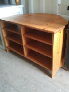 Oakville IKEA SHELF TV TABLE Solid Wood Pine Corner Seating? Shelving Storage Shoes Hallway