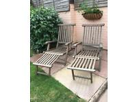Two wooden steamer chairs