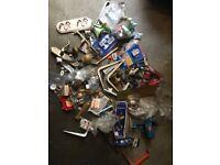 JOB LOT. brass hooks, locks, door knobs, furniture clamps, vice, hinges etc