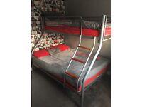 Double bunk on bottom, Single on top