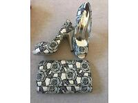 Black and Gold Rose Heels witch matching clutch
