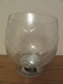 M&S GLASS HURRICANE LAMP CANDLE SCONCE FRUIT BOWL PLANTER SUPER LARGE 10 inch TALL SILVER BASE