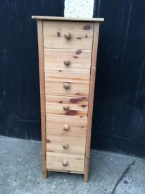 SOLD Tall Boy 7 drawer chest of drawers. Good condition. Pine