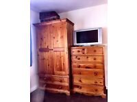 Solid pine wardrobe and chest of drawers mint condition strong & sturdy would look great painted