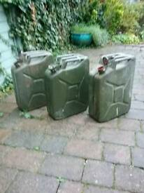 3 old army petrol cans