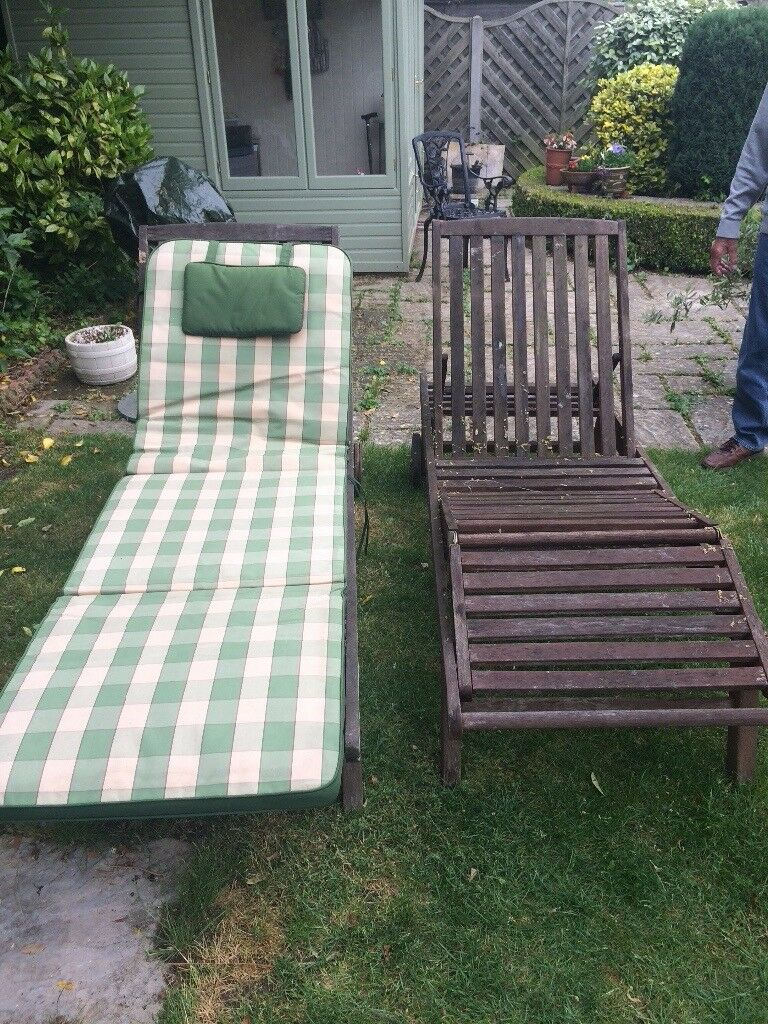 2 X Wooden Garden Loungers With Padded Covers For Both