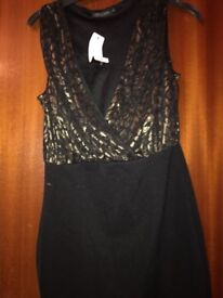 Brand New With Tags Black & Gold Dress-Only £10!!!
