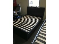Double (4'6) Brown faux leather bed frame