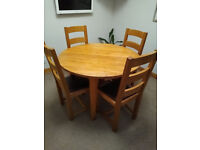 Table & 4 Chairs, solid Oak, Quality Furniture
