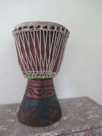 Djembe Local Malina Wood 34cm High 22cms Head Genuine Handmade Gambia Fair Trade New