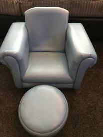 Child's blue rocking chair and footstool