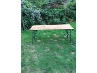 6ft Old School Pine Wooden Trestle Table With Metal Legs