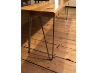 Set of 4 rustic bare steel hairpin table legs (40cm high, NEW/UNUSED)