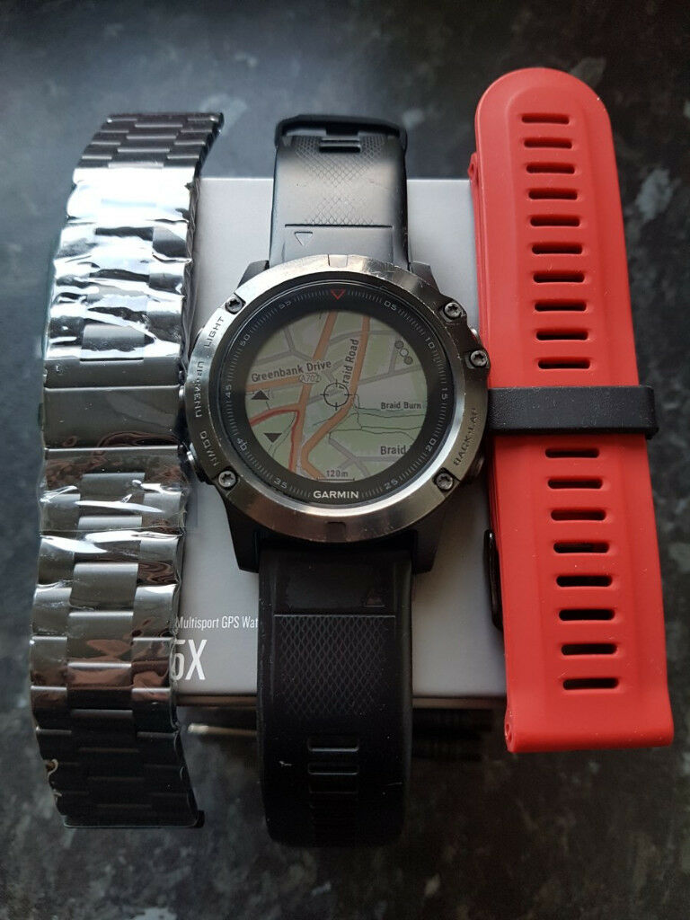 Garmin Fenix 5x Sapphire Edition Ultimate Multisport Gps Watch With 5 Slate Grey Mapping Boxed