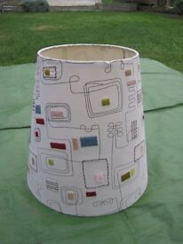 Large Patterned Lampshade with Embroidered Colour Panels