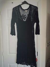 Black lace over dress - Monsoon. Size L