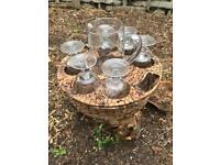 Glass Jug, 6 Glasses and Wicker Basket Set