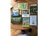 Golfing books x7 inc signed Jacklin book.