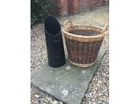Used coal shuttle and wood basket