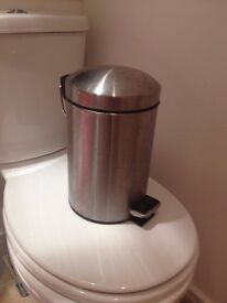 Silver IKEA bin for bathroom