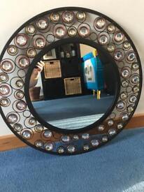 "Rustic black, bronze, and gold round mirror! 24""x24"""