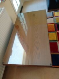 Coffee Table - Glass topped dark oak and black leather