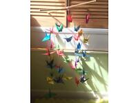 Homemade origami bird cot mobile for baby crib