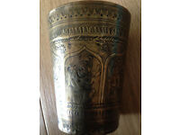 Antique Indian brass beaker wonderfully decorated c1880