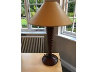 Wooden Lamp with Cream Shade