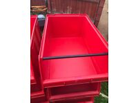 Red stacking trays heavy duty worth £ 200 all 6 for £ 60