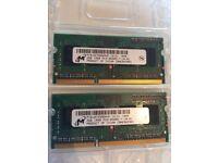 2 x Micron 2GB DDR3 Laptop Memory Ram