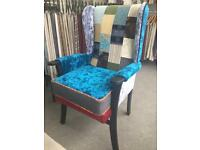 Wing back patchwork chair