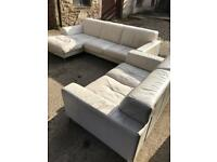 Leather corner sofa and two seater sofa