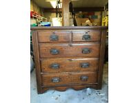 SOLID WOOD ANTIQUE CHEST OF DRAWERS ?VICTORIAN / EDWARDIAN