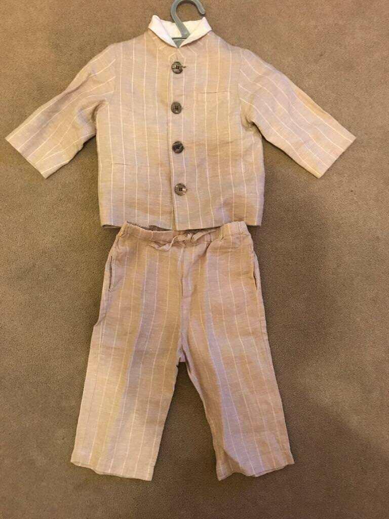 Boys monsoon linea suit & shirt 6-12 months