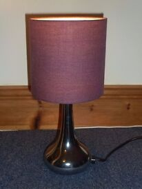 Touch Table Lamp With Dark Purple Lampshade
