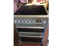 Silver Hotpoint 60cm ceramic hub electric cooker grill & double fan oven good condition with gua