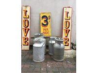 Metal vintage, wedding display milk churn