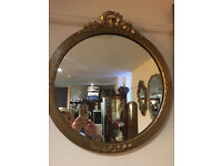 Pretty Ornate Gilt Carved Antique Round Bevelled Edge Mirror with Decorative Gilt Frame